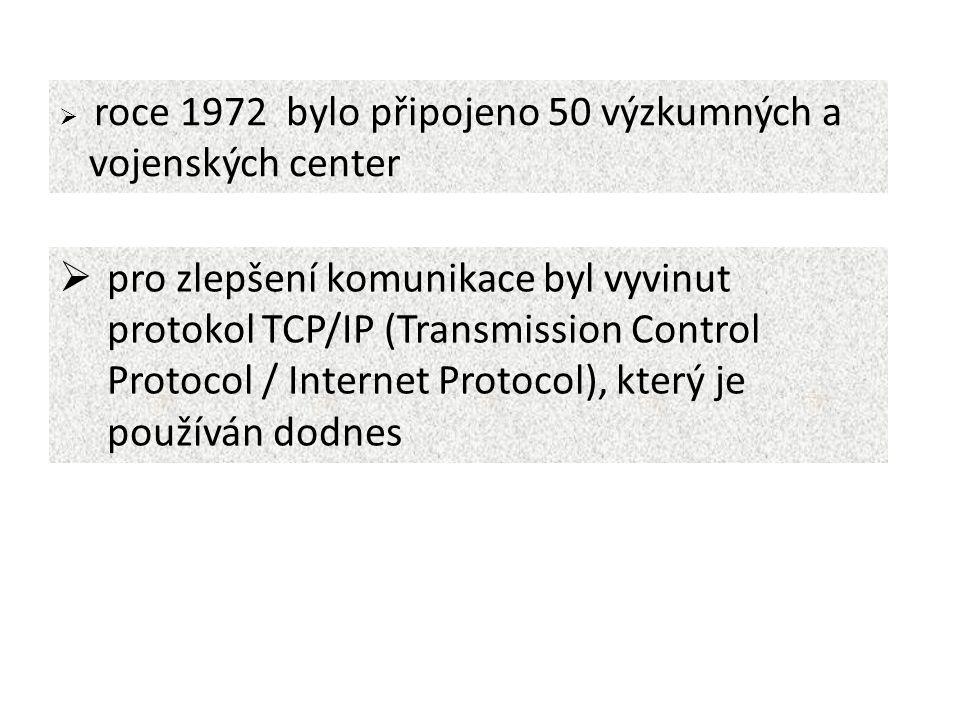  roce 1972 bylo připojeno 50 výzkumných a vojenských center  pro zlepšení komunikace byl vyvinut protokol TCP/IP (Transmission Control Protocol / Internet Protocol), který je používán dodnes