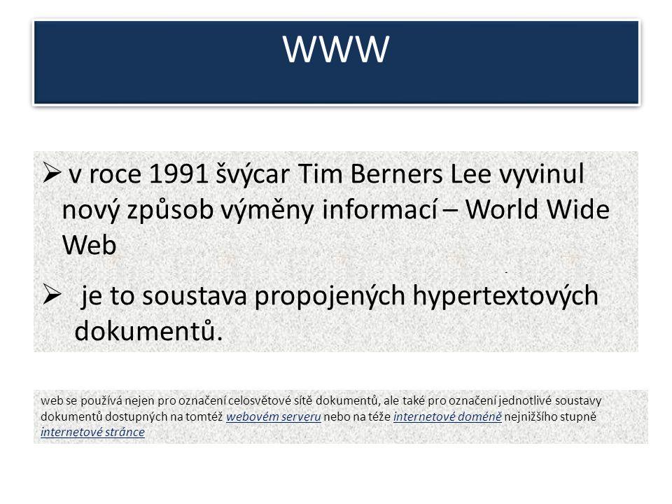 """WWW  v roce 1991 švýcar Tim Berners Lee vyvinul nový způsob výměny informací – World Wide Web (""""celosvětová počítačová síť )  je to soustava propojených hypertextových dokumentů."""