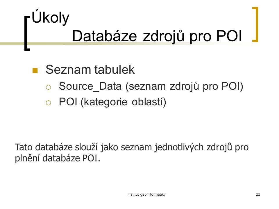 Institut geoinformatiky22 Úkoly Databáze zdrojů pro POI Seznam tabulek  Source_Data (seznam zdrojů pro POI)  POI (kategorie oblastí) Tato databáze slouží jako seznam jednotlivých zdrojů pro plnění databáze POI.