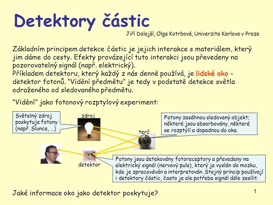 """1 """"Vidění"""" jako fotonový rozptylový experiment: Základním principem detekce částic je jejich interakce s materiálem, který jim dáme do cesty. Efekty p"""