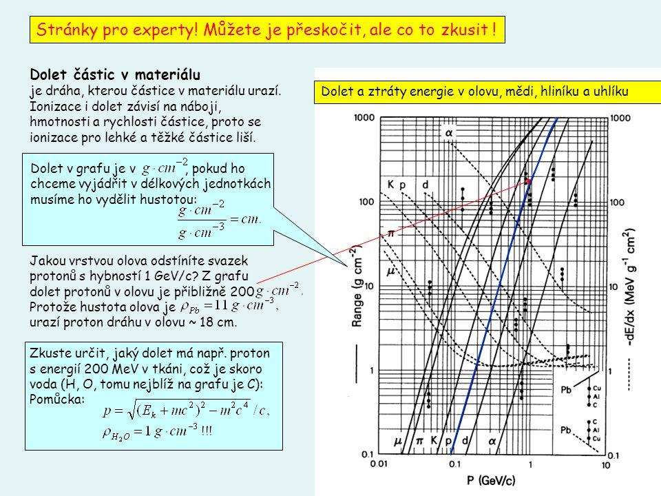10 Dolet částic v materiálu je dráha, kterou částice v materiálu urazí. Ionizace i dolet závisí na náboji, hmotnosti a rychlosti částice, proto se ion