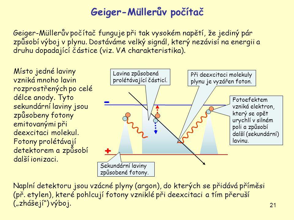 21 Geiger-Müllerův počítač Geiger-Müllerův počítač funguje při tak vysokém napětí, že jediný pár způsobí výboj v plynu. Dostáváme velký signál, který