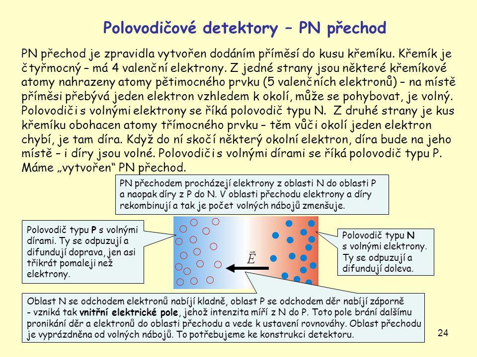 24 Polovodičové detektory – PN přechod PN přechod je zpravidla vytvořen dodáním příměsí do kusu křemíku. Křemík je čtyřmocný – má 4 valenční elektrony