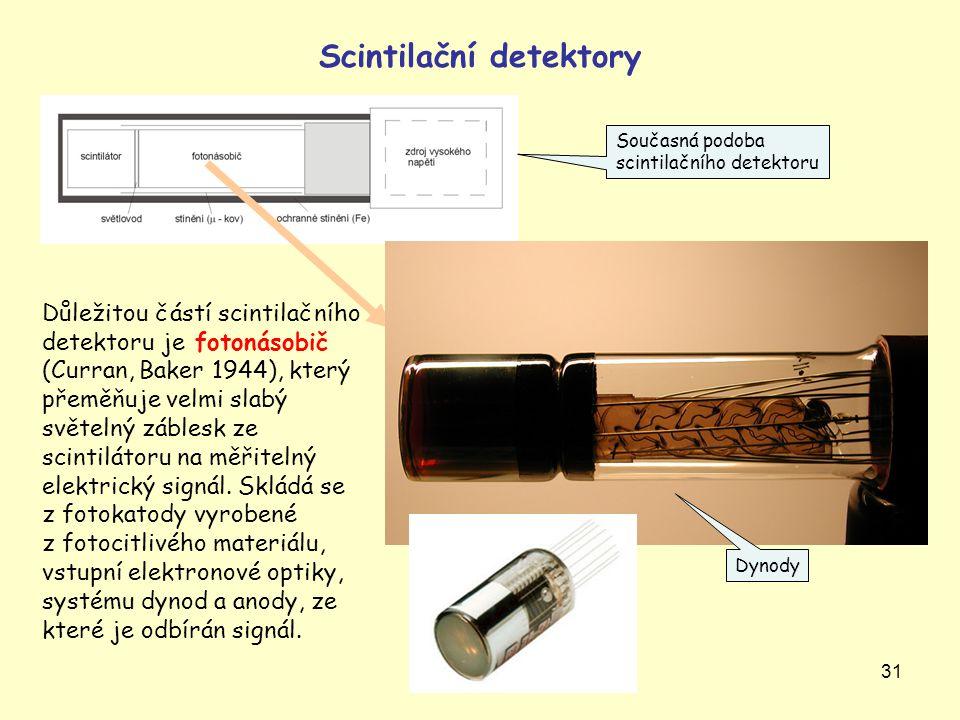 31 Scintilační detektory Důležitou částí scintilačního detektoru je fotonásobič (Curran, Baker 1944), který přeměňuje velmi slabý světelný záblesk ze