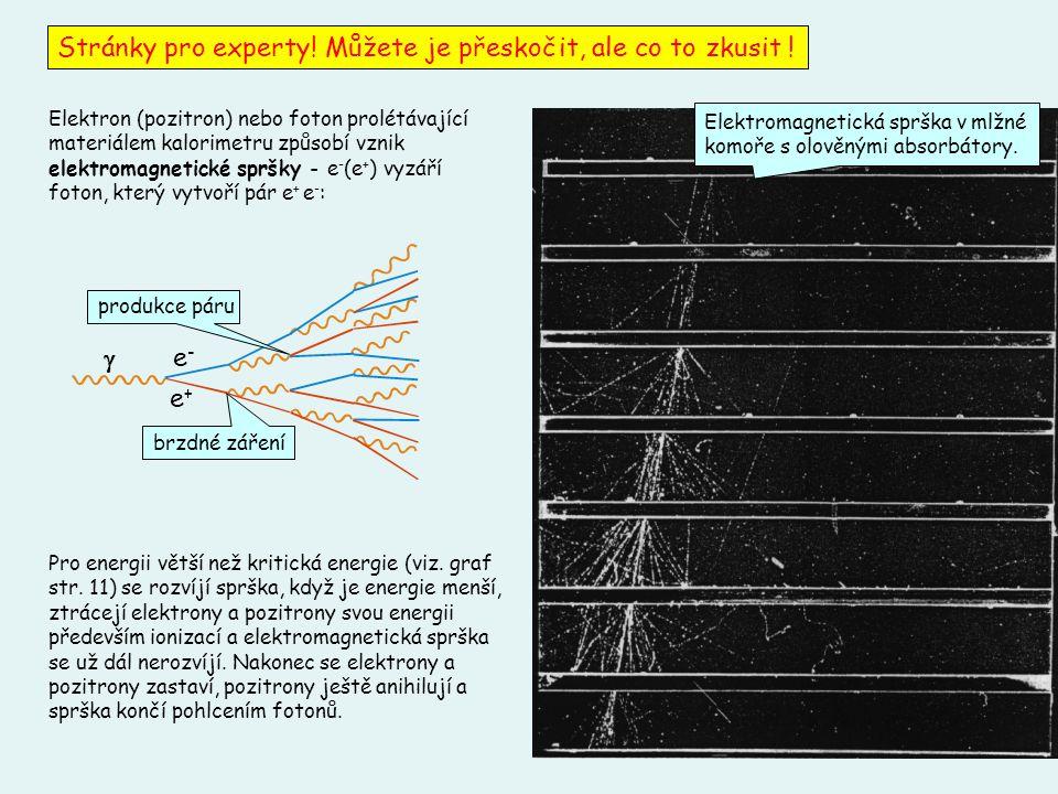 35 Elektron (pozitron) nebo foton prolétávající materiálem kalorimetru způsobí vznik elektromagnetické spršky - e - (e + ) vyzáří foton, který vytvoří