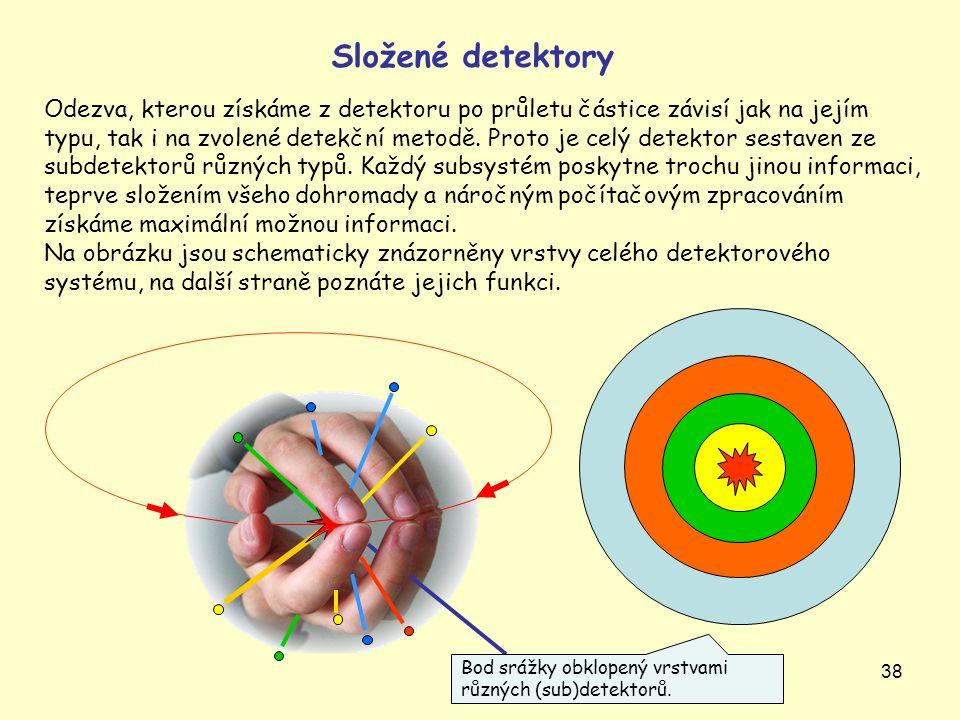 38 Složené detektory Odezva, kterou získáme z detektoru po průletu částice závisí jak na jejím typu, tak i na zvolené detekční metodě. Proto je celý d