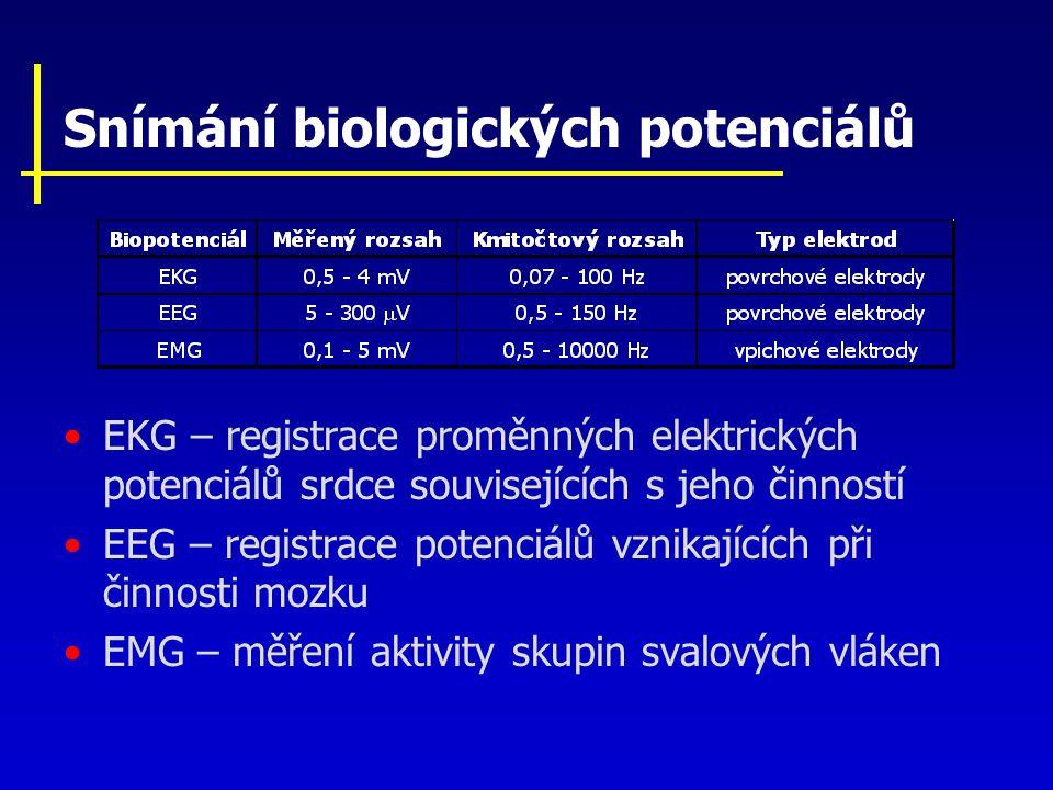 Snímání biologických potenciálů EKG – registrace proměnných elektrických potenciálů srdce souvisejících s jeho činností EEG – registrace potenciálů vz