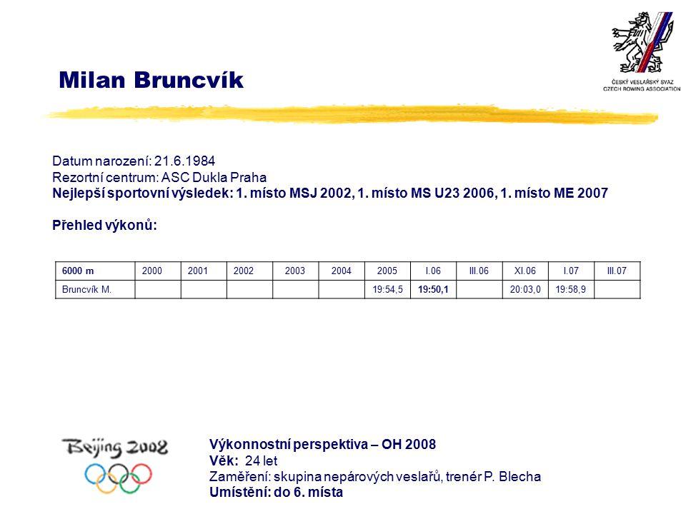 Milan Bruncvík Datum narození: 21.6.1984 Rezortní centrum: ASC Dukla Praha Nejlepší sportovní výsledek: 1.