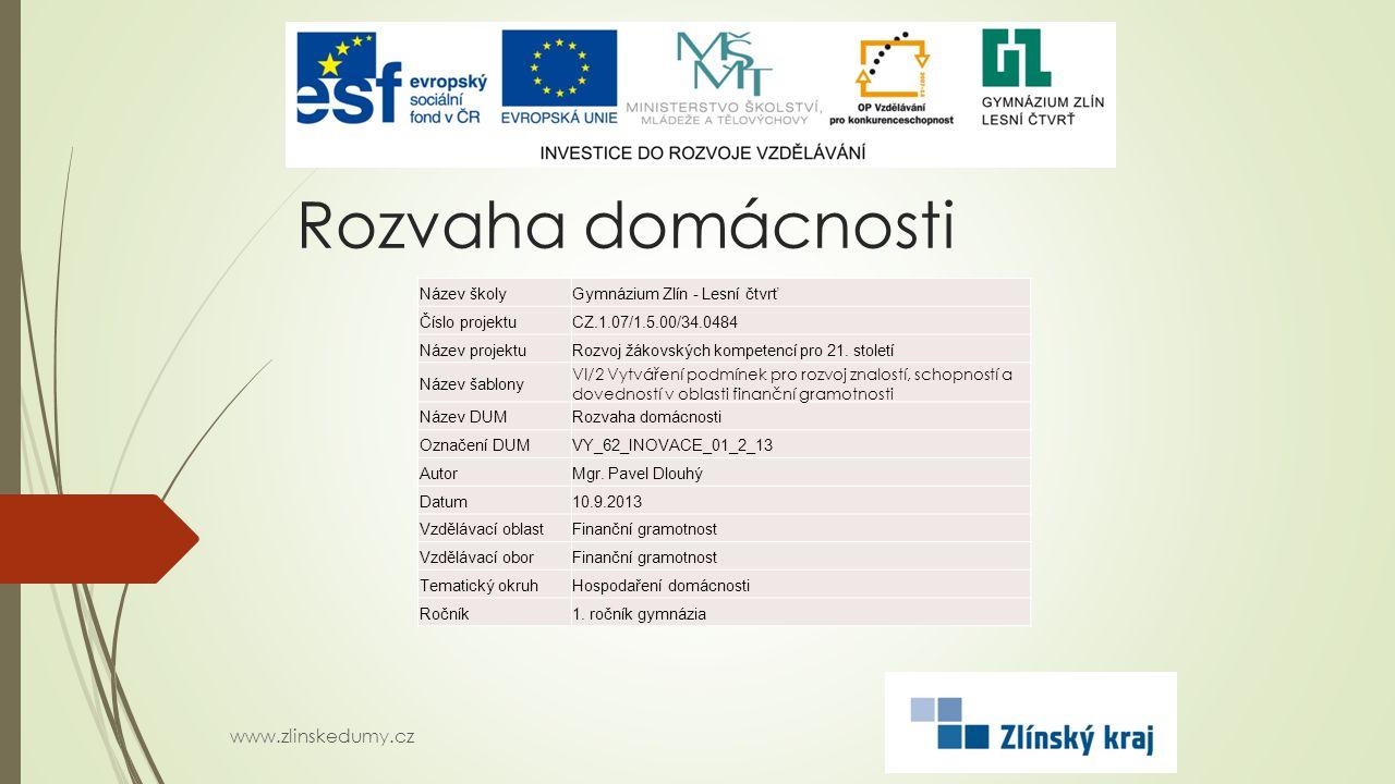Rozvaha domácnosti www.zlinskedumy.cz Název školyGymnázium Zlín - Lesní čtvrť Číslo projektuCZ.1.07/1.5.00/34.0484 Název projektuRozvoj žákovských kompetencí pro 21.
