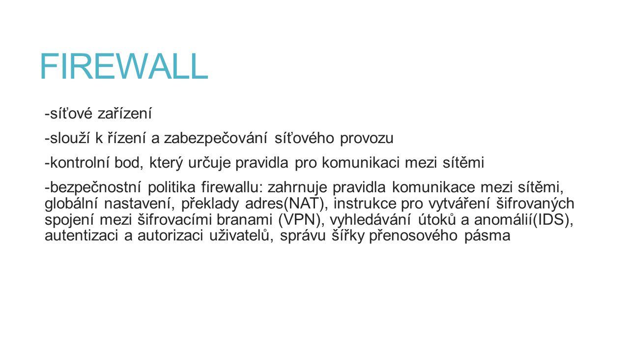FIREWALL -síťové zařízení -slouží k řízení a zabezpečování síťového provozu -kontrolní bod, který určuje pravidla pro komunikaci mezi sítěmi -bezpečno