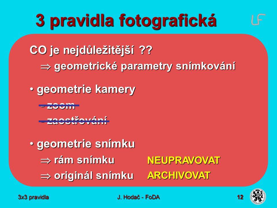 3x3 pravidla J. Hodač - FoDA 12 3 pravidla fotografická CO je nejdůležitější ??  geometrické parametry snímkování geometrie kamery geometrie kamery -
