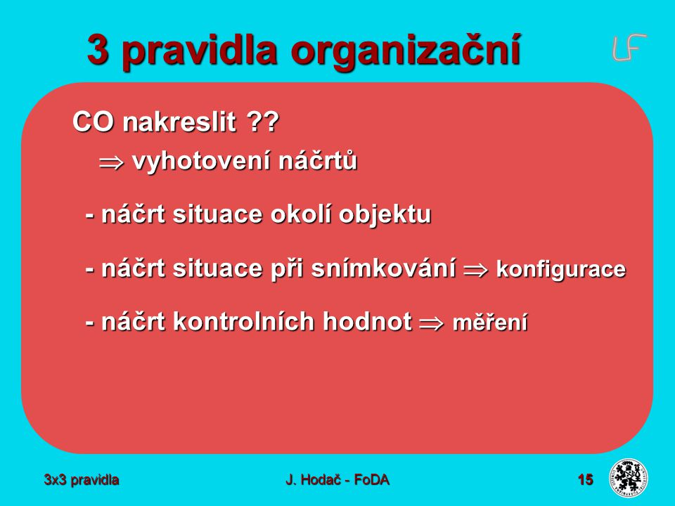 3x3 pravidla J. Hodač - FoDA 15 3 pravidla organizační CO nakreslit ??  vyhotovení náčrtů - náčrt situace okolí objektu - náčrt situace při snímkován