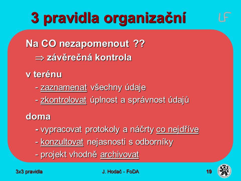 3x3 pravidla J. Hodač - FoDA 19 3 pravidla organizační Na CO nezapomenout ??  závěrečná kontrola v terénu - zaznamenat všechny údaje - zkontrolovat ú