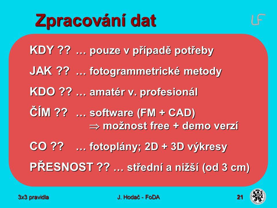 3x3 pravidla J. Hodač - FoDA 21 Zpracování dat KDY .