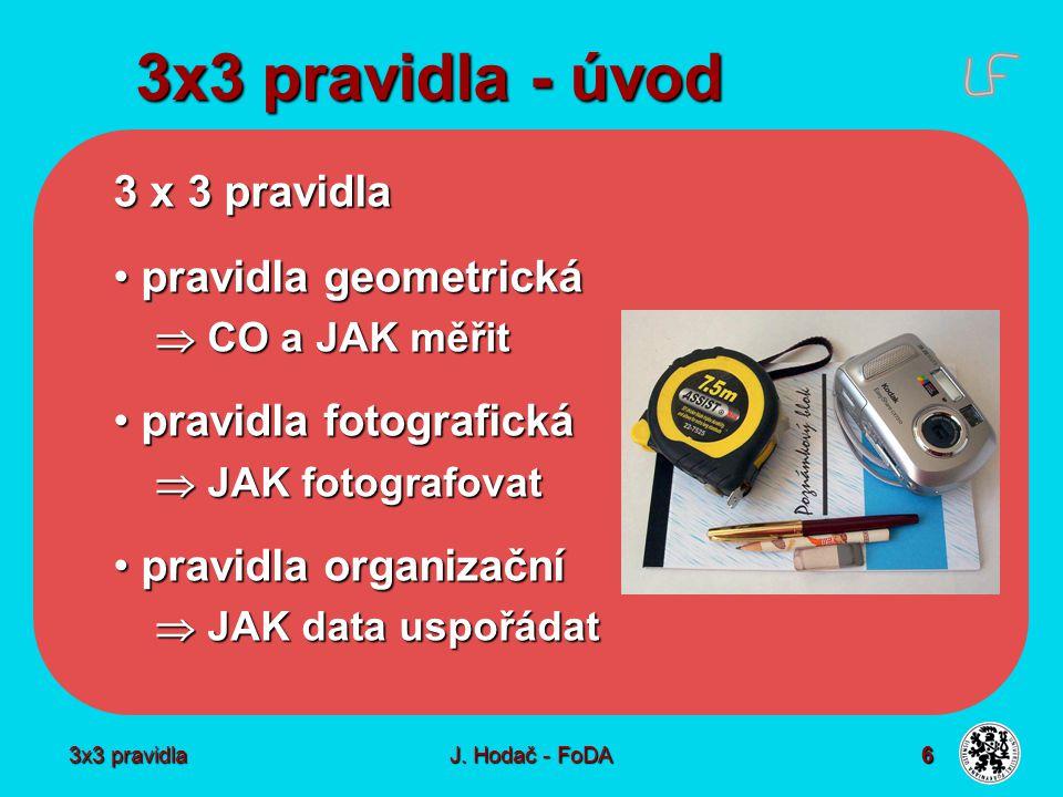 3x3 pravidla J. Hodač - FoDA 6 3x3 pravidla - úvod 3 x 3 pravidla pravidla geometrická pravidla geometrická  CO a JAK měřit pravidla fotografická pra