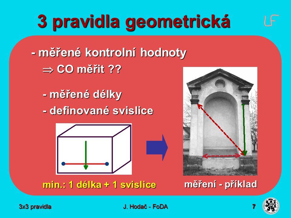 3x3 pravidla J. Hodač - FoDA 7 3 pravidla geometrická - měřené kontrolní hodnoty  CO měřit ?? - měřené délky - definované svislice min.: 1 délka + 1