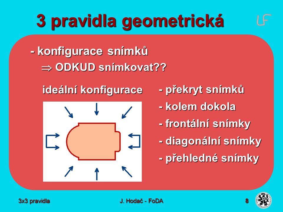 3x3 pravidla J. Hodač - FoDA 8 3 pravidla geometrická - konfigurace snímků  ODKUD snímkovat??  ODKUD snímkovat?? - překryt snímků - kolem dokola - f