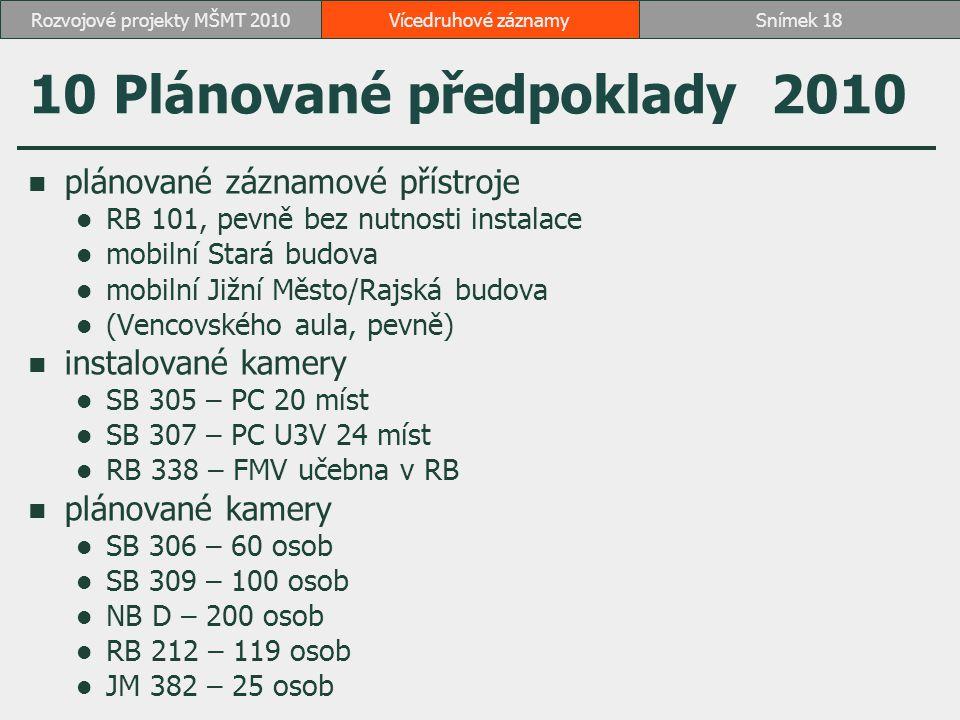 10 Plánované předpoklady 2010 plánované záznamové přístroje RB 101, pevně bez nutnosti instalace mobilní Stará budova mobilní Jižní Město/Rajská budov