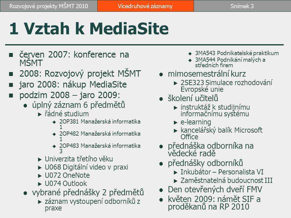1 Vztah k MediaSite červen 2007: konference na MŠMT 2008: Rozvojový projekt MŠMT jaro 2008: nákup MediaSite podzim 2008 – jaro 2009: úplný záznam 6 předmětů  řádné studium  2OP381 Manažerská informatika 1  2OP482 Manažerská informatika 1  2OP483 Manažerská informatika 3  Univerzita třetího věku  U068 Digitální video v praxi  U072 OneNote  U074 Outlook vybrané přednášky 2 předmětů  záznam vystoupení odborníků z praxe  3MA543 Podnikatelské praktikum  3MA544 Podnikání malých a středních firem mimosemestrální kurz  2SE323 Simulace rozhodování Evropské unie školení učitelů  instruktáž k studijnímu informačnímu systému  e-learning  kancelářský balík Microsoft Office přednáška odborníka na vědecké radě přednášky odborníků  Inkubátor – Personalista VI  Zaměstnatelná budoucnost III Den otevřených dveří FMV květen 2009: námět SIF a proděkanů na RP 2010 Vícedruhové záznamySnímek 3Rozvojové projekty MŠMT 2010