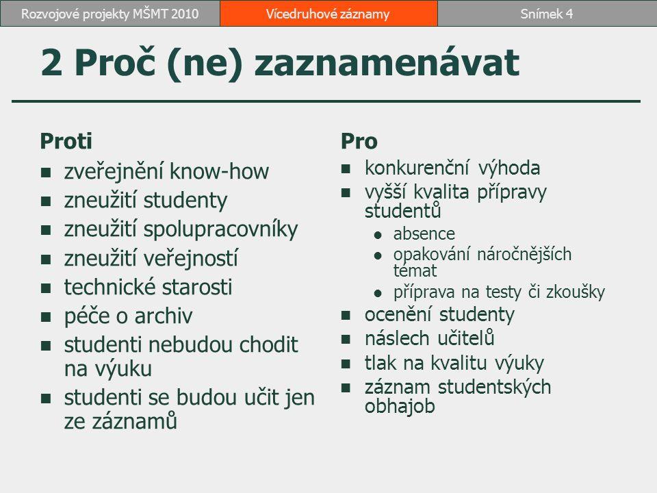 2 Proč (ne) zaznamenávat Proti zveřejnění know-how zneužití studenty zneužití spolupracovníky zneužití veřejností technické starosti péče o archiv stu