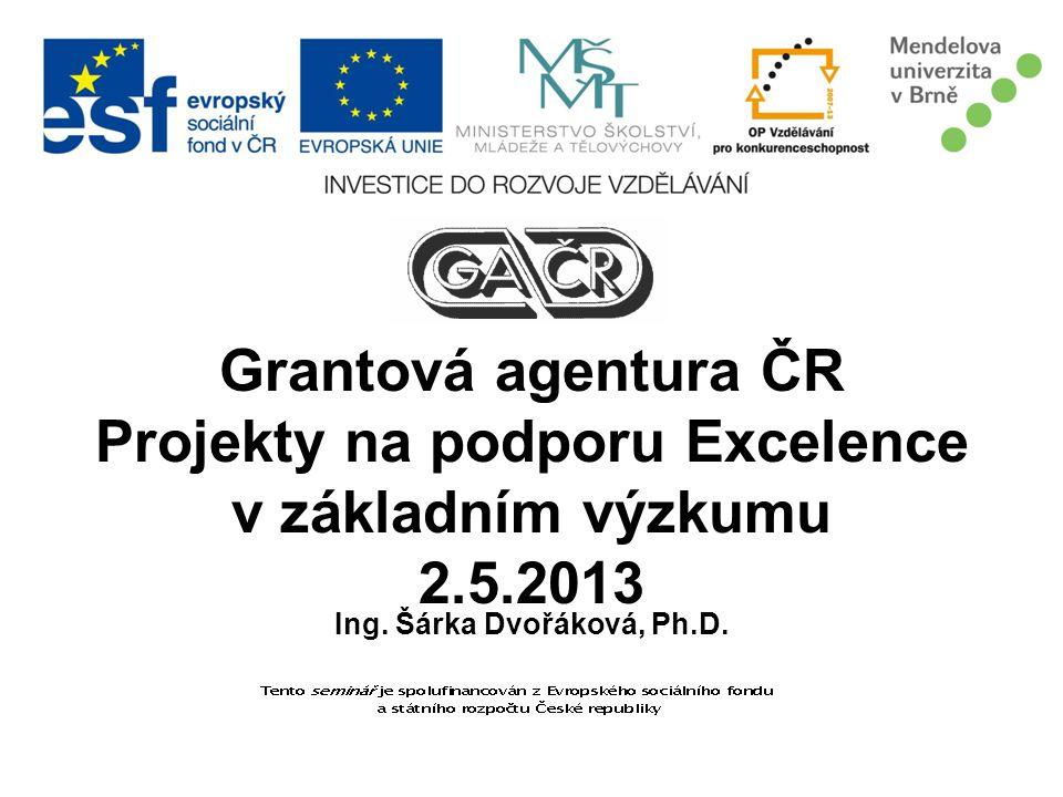 Grantová agentura ČR Projekty na podporu Excelence v základním výzkumu 2.5.2013 Ing. Šárka Dvořáková, Ph.D.