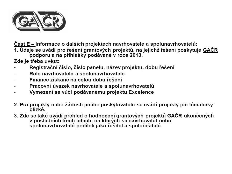Část E – Informace o dalších projektech navrhovatele a spolunavrhovatelů: 1.