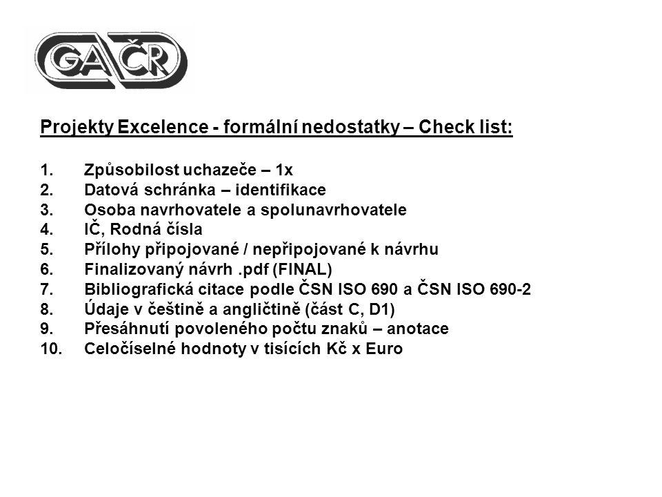 Projekty Excelence - formální nedostatky – Check list: 1.Způsobilost uchazeče – 1x 2.Datová schránka – identifikace 3.Osoba navrhovatele a spolunavrho