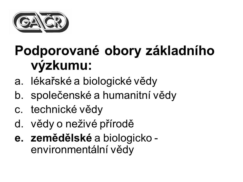 Podporované obory základního výzkumu: a.lékařské a biologické vědy b.společenské a humanitní vědy c.technické vědy d.vědy o neživé přírodě e.zemědělské a biologicko - environmentální vědy