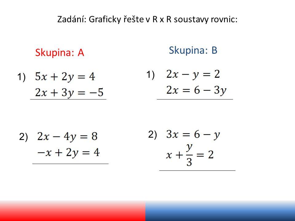 Zadání: Graficky řešte v R x R soustavy rovnic: Skupina: A Skupina: B 1) 2) 1) 2)