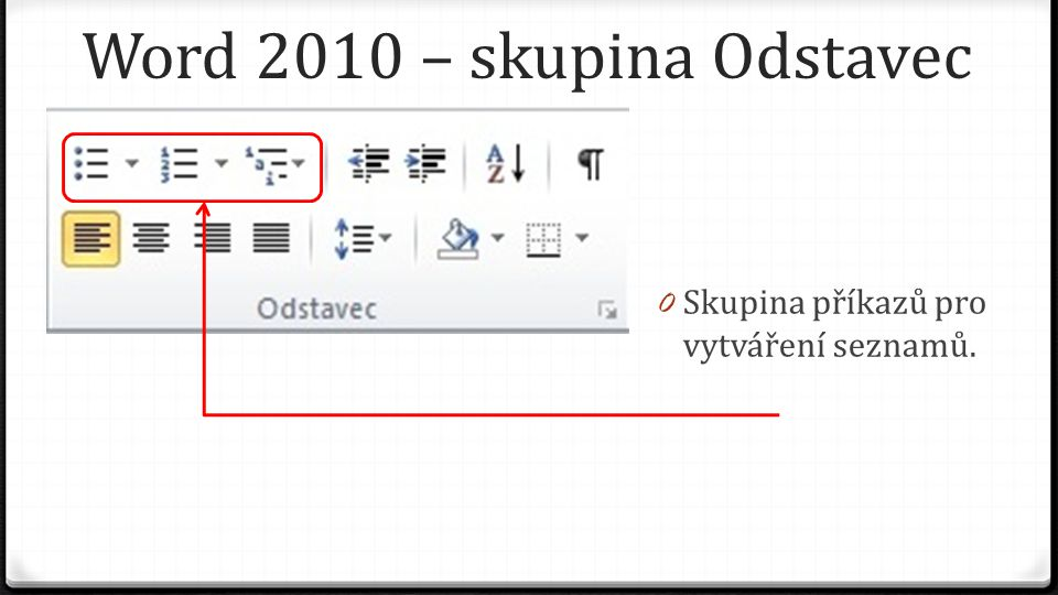 Word 2010 – skupina Odstavec 0 Skupina příkazů pro vytváření seznamů.