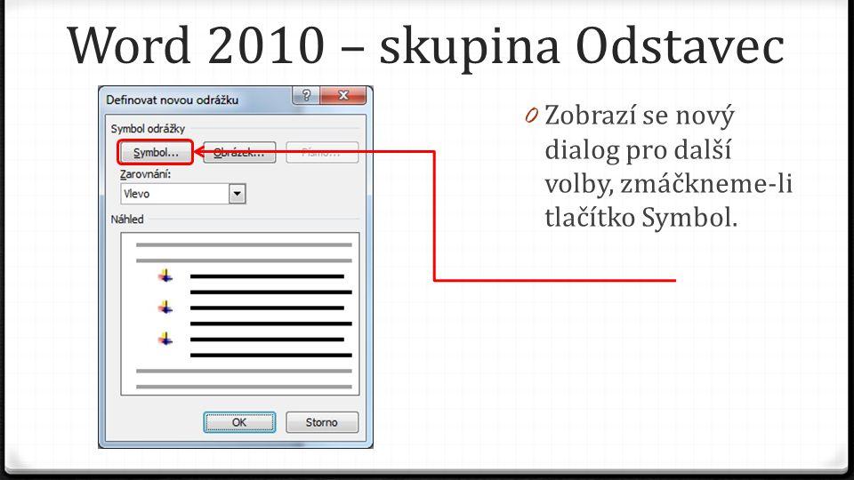 Word 2010 – skupina Odstavec 0 Zobrazí se nový dialog pro další volby, zmáčkneme-li tlačítko Symbol.