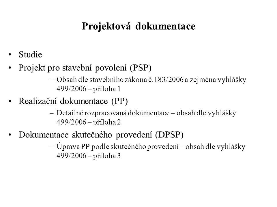 Projektová dokumentace Studie Projekt pro stavební povolení (PSP) –Obsah dle stavebního zákona č.183/2006 a zejména vyhlášky 499/2006 – příloha 1 Real