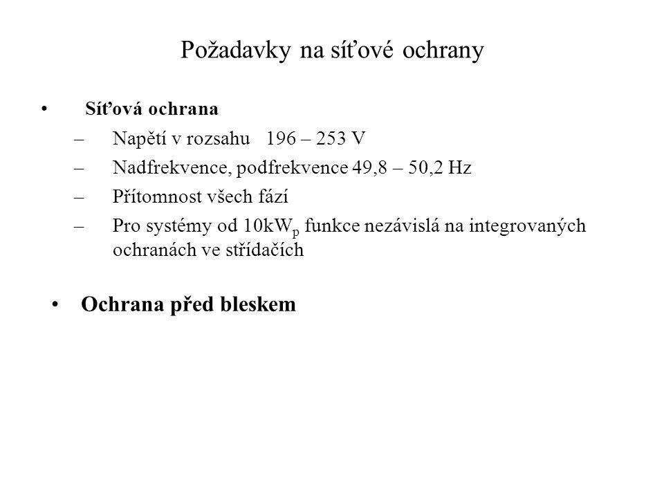 Požadavky na síťové ochrany Síťová ochrana –Napětí v rozsahu 196 – 253 V –Nadfrekvence, podfrekvence 49,8 – 50,2 Hz –Přítomnost všech fází –Pro systém