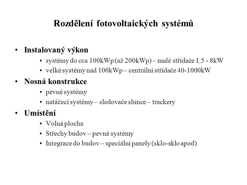 Rozdělení fotovoltaických systémů Instalovaný výkon systémy do cca 100kWp (až 200kWp) – malé střídače 1,5 - 8kW velké systémy nad 100kWp – centrální s