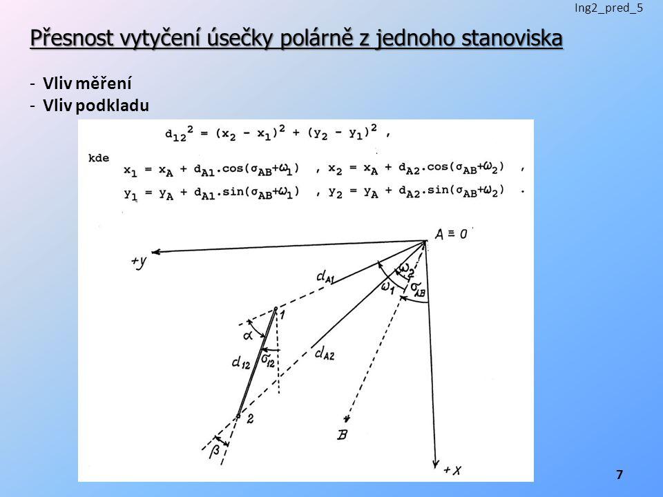 Přesnost vytyčení úsečky polárně z jednoho stanoviska -Vliv měření -Vliv podkladu Ing2_pred_5 7