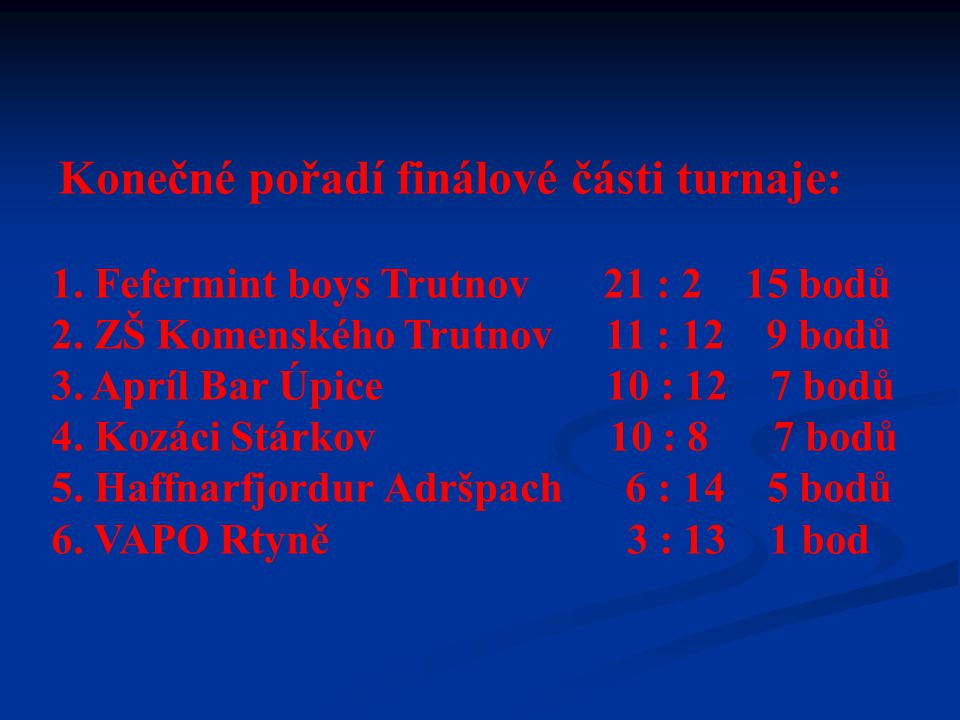 Datum konání: 30.1 – 31.1. 2010 Místo : Rtyně v Podkrkonoší, sportovní hala Orlovna Orlovna