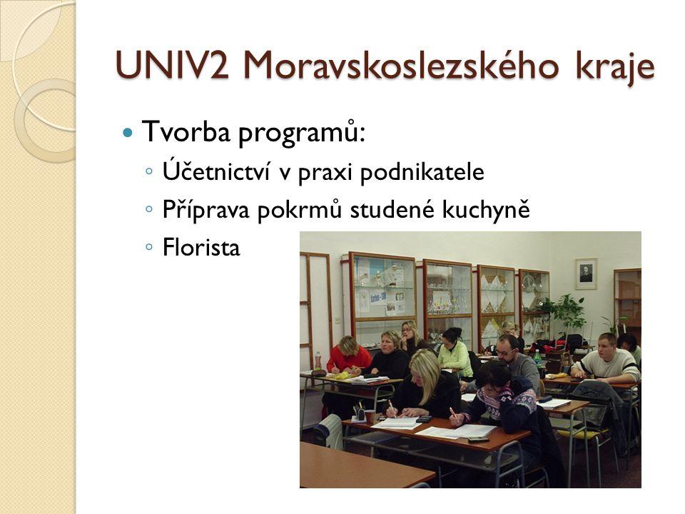 UNIV2 Moravskoslezského kraje Tvorba programů: ◦ Účetnictví v praxi podnikatele ◦ Příprava pokrmů studené kuchyně ◦ Florista