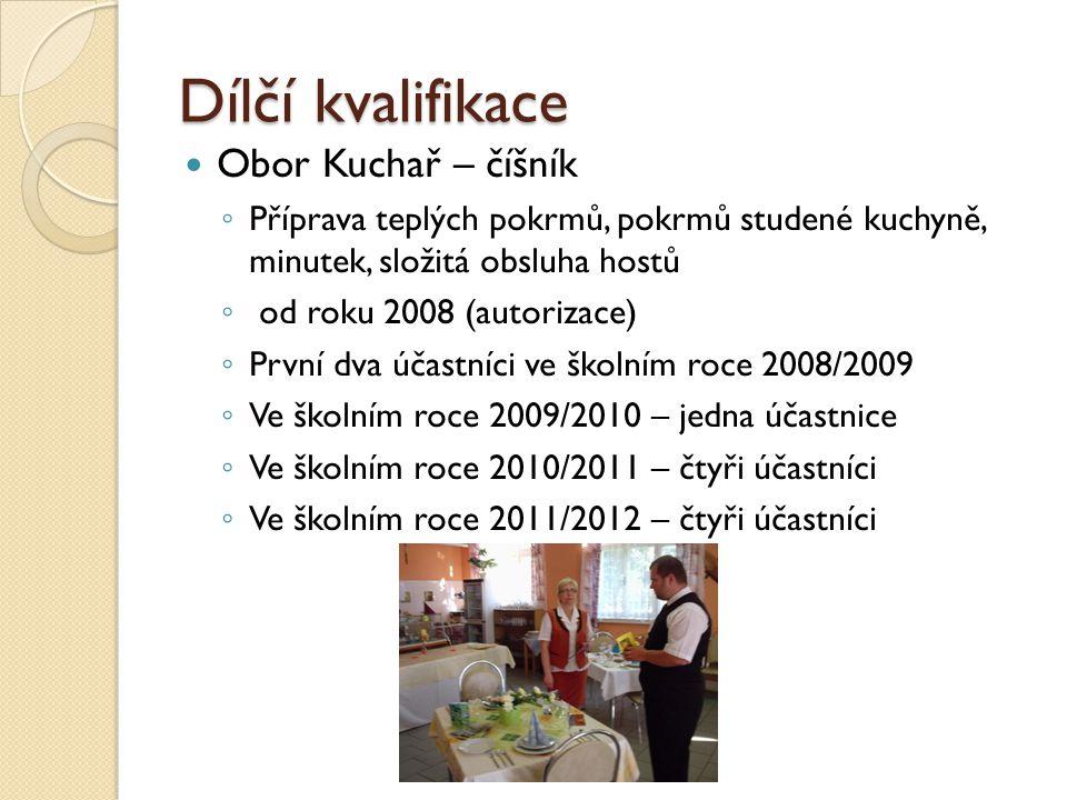 Dílčí kvalifikace Obor Kuchař – číšník ◦ Příprava teplých pokrmů, pokrmů studené kuchyně, minutek, složitá obsluha hostů ◦ od roku 2008 (autorizace) ◦ První dva účastníci ve školním roce 2008/2009 ◦ Ve školním roce 2009/2010 – jedna účastnice ◦ Ve školním roce 2010/2011 – čtyři účastníci ◦ Ve školním roce 2011/2012 – čtyři účastníci