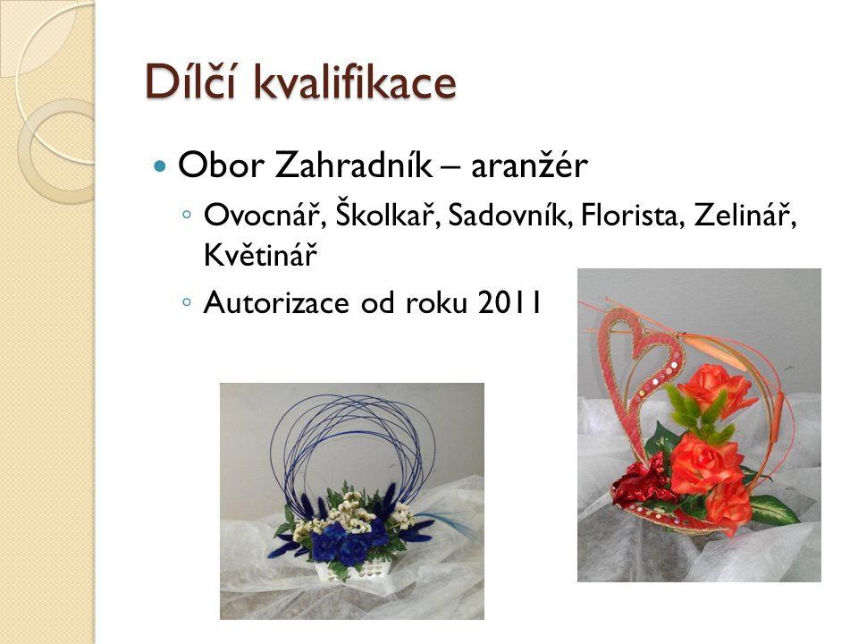 Dílčí kvalifikace Obor Zahradník – aranžér ◦ Ovocnář, Školkař, Sadovník, Florista, Zelinář, Květinář ◦ Autorizace od roku 2011