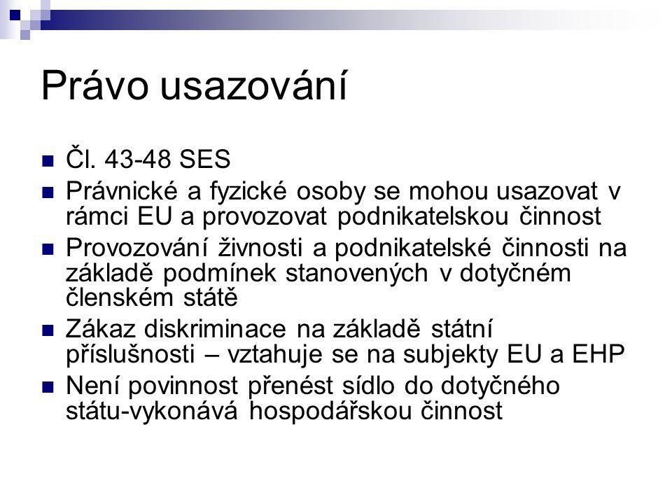 Právo usazování Čl.