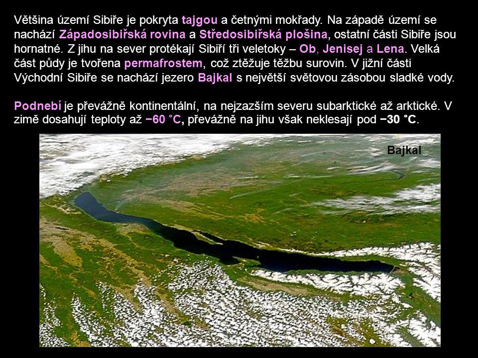 Většina území Sibiře je pokryta tajgou a četnými mokřady.