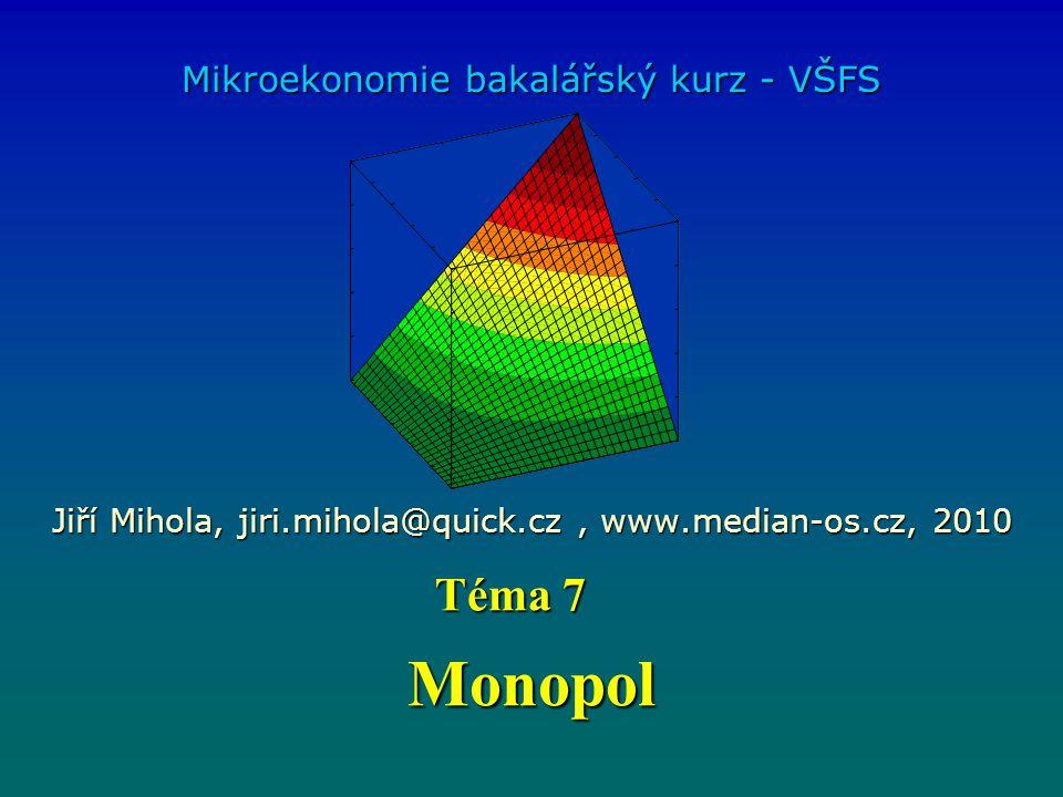 Monopol Mikroekonomie bakalářský kurz - VŠFS Jiří Mihola, jiri.mihola@quick.cz, www.median-os.cz, 2010 Téma 7