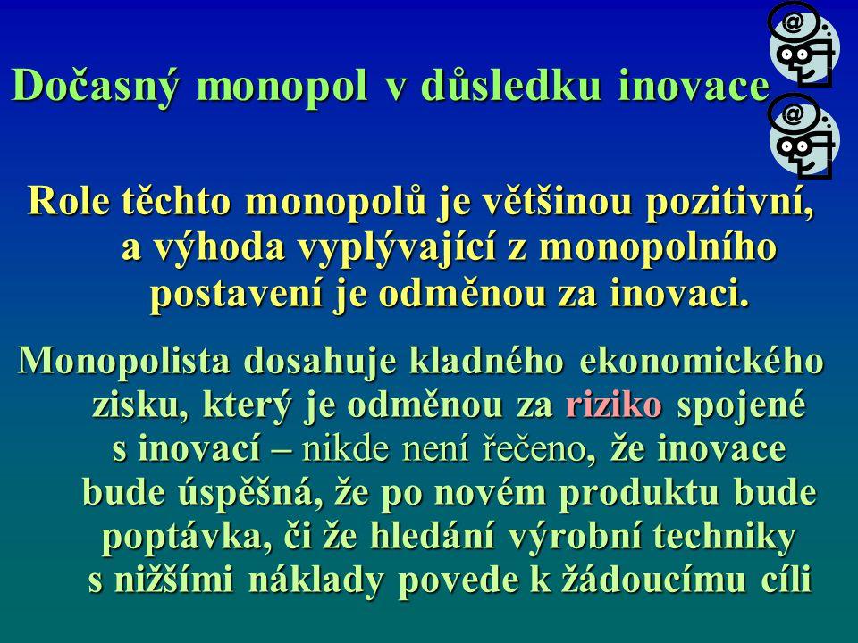 Dočasný monopol v důsledku inovace Role těchto monopolů je většinou pozitivní, a výhoda vyplývající z monopolního postavení je odměnou za inovaci.