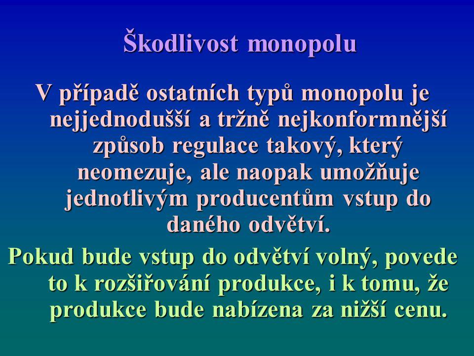 Škodlivost monopolu V případě ostatních typů monopolu je nejjednodušší a tržně nejkonformnější způsob regulace takový, který neomezuje, ale naopak umožňuje jednotlivým producentům vstup do daného odvětví.