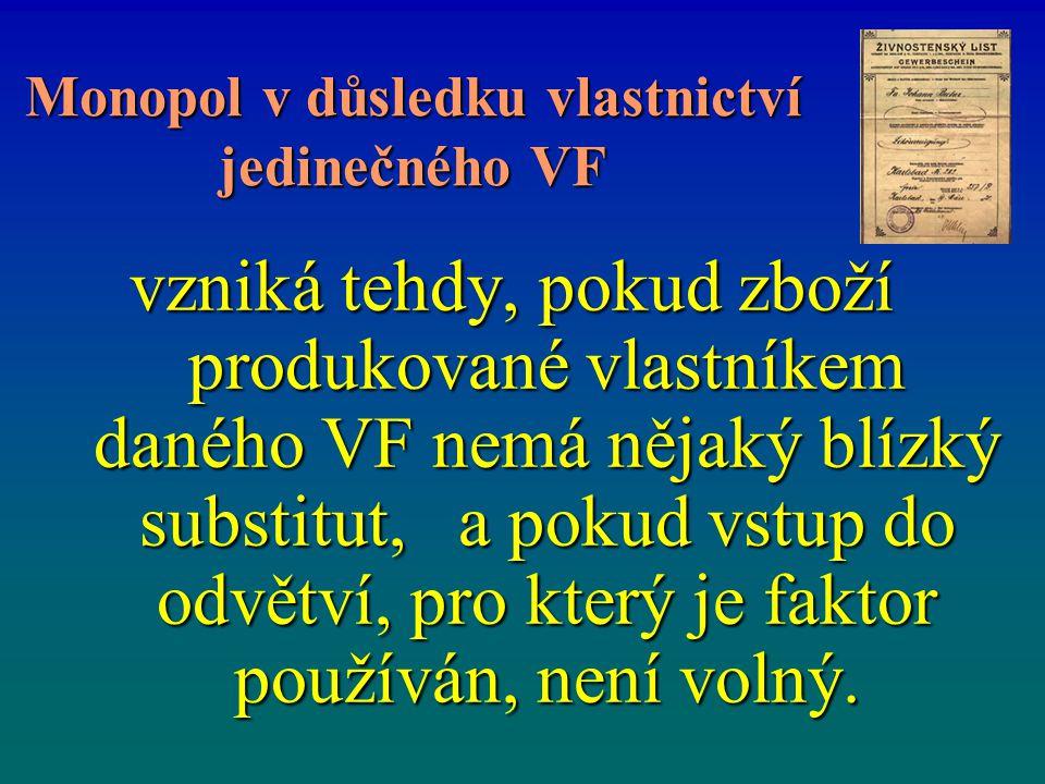 Monopol v důsledku vlastnictví jedinečného VF vzniká tehdy, pokud zboží produkované vlastníkem daného VF nemá nějaký blízký substitut, a pokud vstup do odvětví, pro který je faktor používán, není volný.