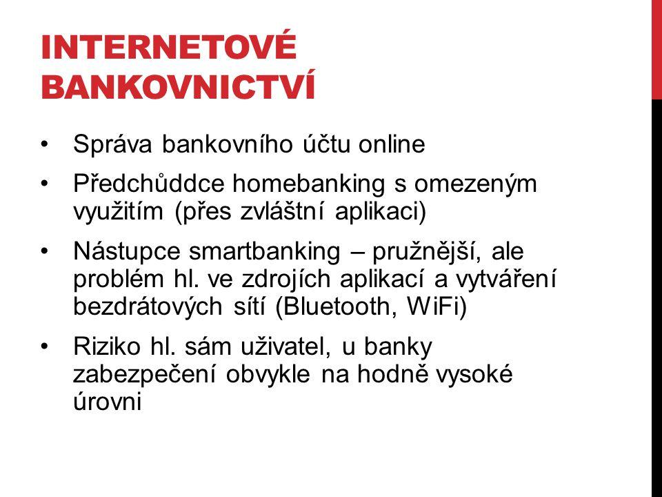 INTERNETOVÉ BANKOVNICTVÍ Správa bankovního účtu online Předchůddce homebanking s omezeným využitím (přes zvláštní aplikaci) Nástupce smartbanking – pr