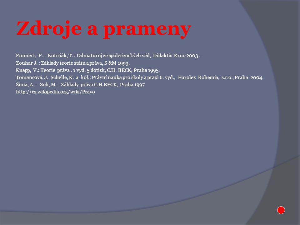 Zdroje a prameny Emmert, F. - Kotrňák, T. : Odmaturuj ze společenských věd, Didaktis Brno 2003.