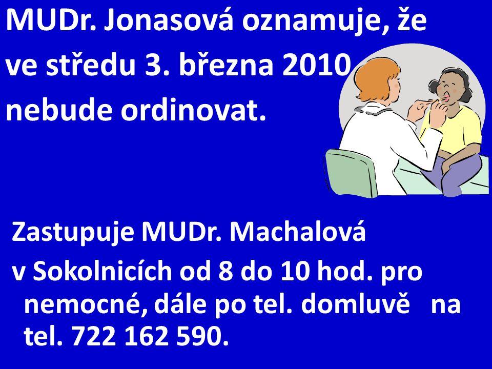 MUDr. Jonasová oznamuje, že ve středu 3. března 2010 nebude ordinovat. Zastupuje MUDr. Machalová v Sokolnicích od 8 do 10 hod. pro nemocné, dále po te
