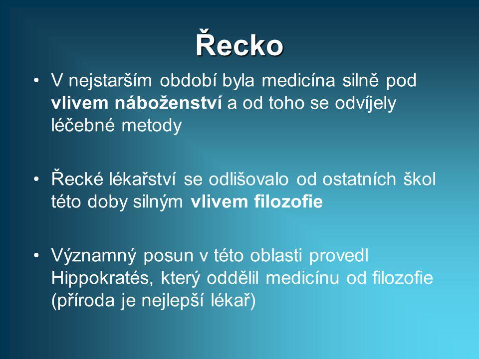 Řecko V nejstarším období byla medicína silně pod vlivem náboženství a od toho se odvíjely léčebné metody Řecké lékařství se odlišovalo od ostatních š