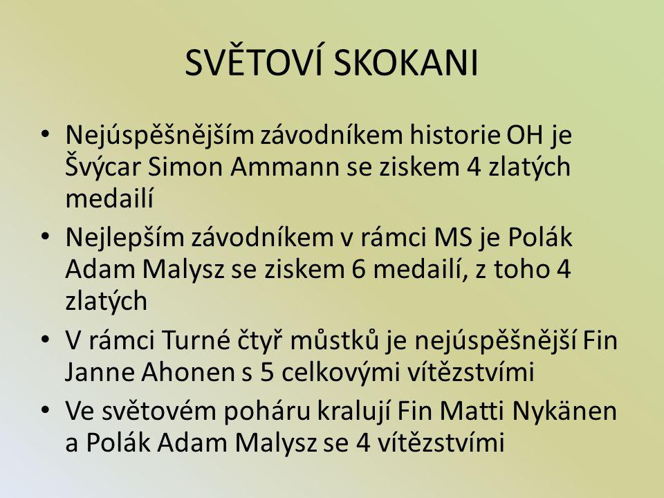 SVĚTOVÍ SKOKANI Nejúspěšnějším závodníkem historie OH je Švýcar Simon Ammann se ziskem 4 zlatých medailí Nejlepším závodníkem v rámci MS je Polák Adam